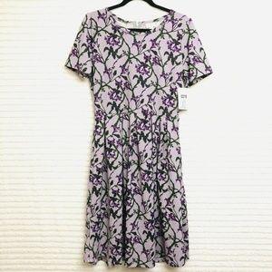 LuLaRoe Amelia XL Purple Green Floral Dress